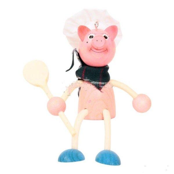 Famille Zébulos : Le cochon cuisinier poupée à ressort