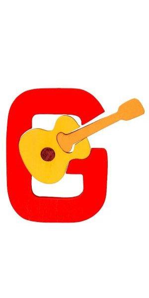 G - guitare Lettres bois, déco et puzzles
