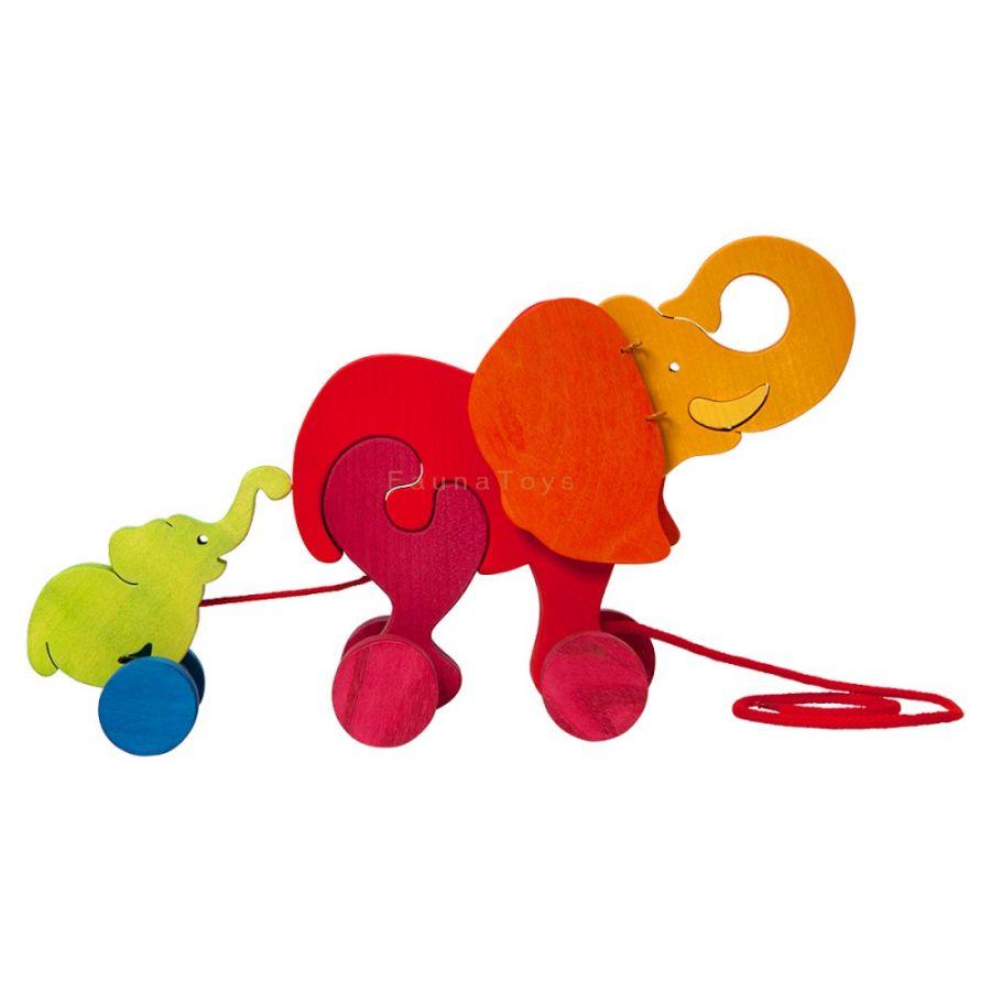 Jouet à tirer : Éléphant et bébé