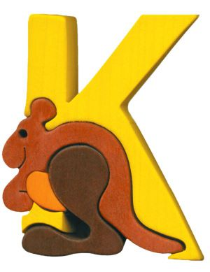 K - kangourou  Lettres bois, déco et puzzles