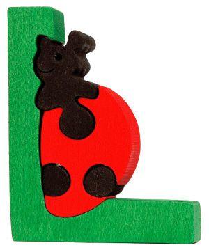 L -  ladybug. Lettres bois, déco et puzzles