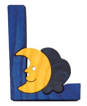 L - lune Lettres bois, déco et puzzles
