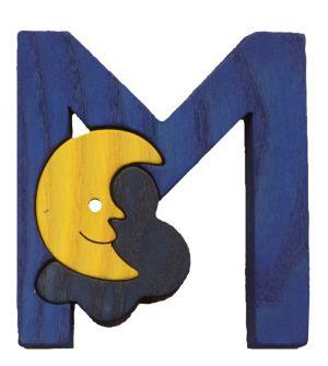 M - moon. Lettres bois, déco et puzzles