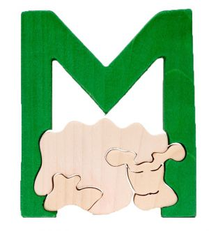 M - mouton. Lettres bois, déco et puzzles