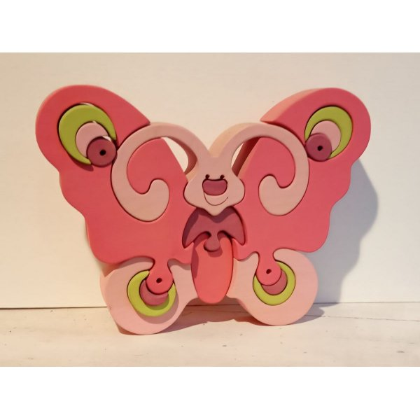 Puzzle en bois/ le Papillon rose