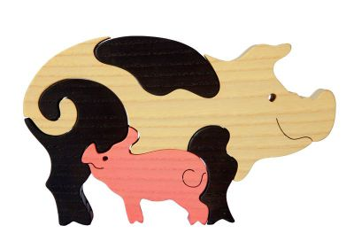 animal en bois puzzle maman cochon et b b. Black Bedroom Furniture Sets. Home Design Ideas