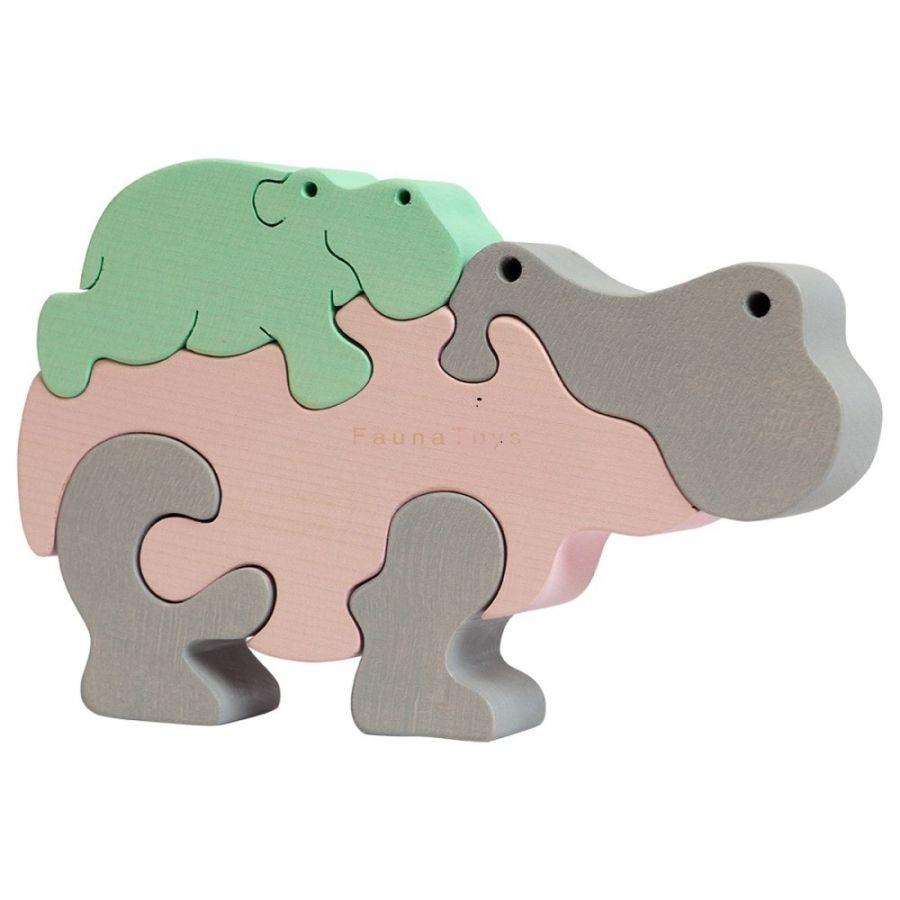 Puzzle Maman hippo et bébé pastel
