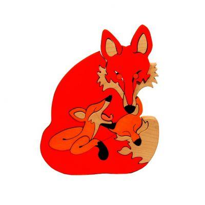 Puzzle Maman renard et bébés