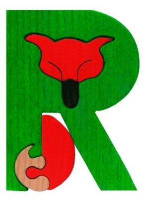 R- renard  Lettres bois, déco et puzzles