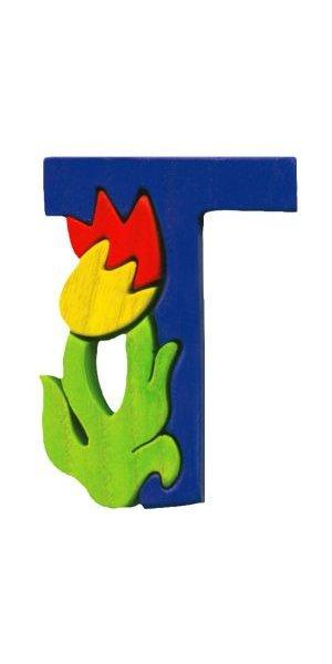 T- tulipe  Lettres bois, déco et puzzles