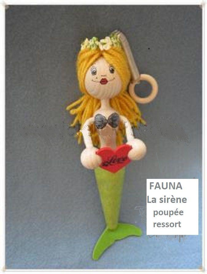 Les Zébulos : La sirène, poupée en bois